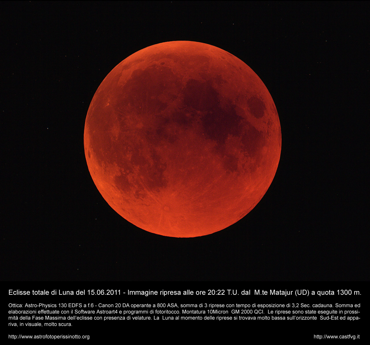 Total Moon eclipse photographed from Mount Matajur by Enrico Perissinotto: 256 KB