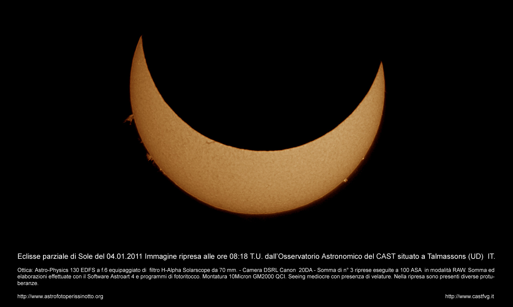 Partial sun eclipse photographed from Talmassons by Enrico Perissinotto: 162 KB
