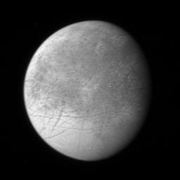 This image of Jupiter's icy moon Europa, the first Europa image returned by New Horizons: 110 KB; click on the image to view the original website