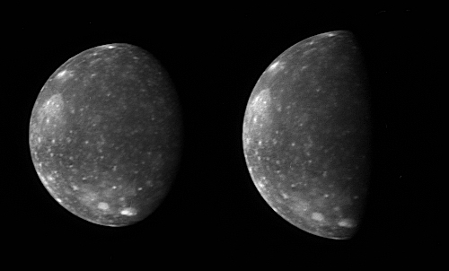 Instrument LORRI captured these two images of Jupiter's outermost large moon, Callisto: 85 KB; click on the image to view the original website
