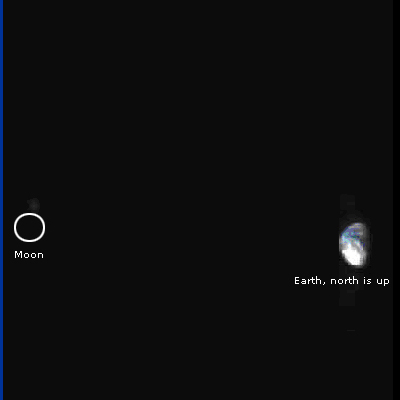 Image of Earth and Moon taken by Venus Express: 12 KB